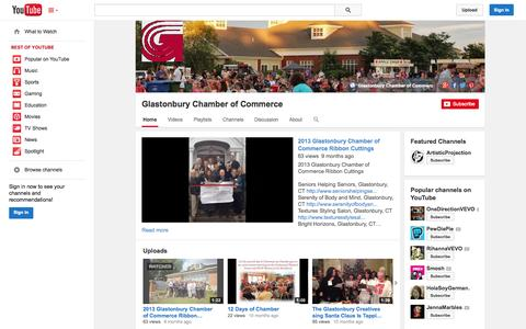 Screenshot of YouTube Page youtube.com - Glastonbury Chamber of Commerce  - YouTube - captured Oct. 23, 2014