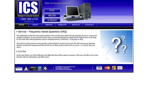 Screenshot of FAQ Page icscomputers.ca - ICS Computers - Service - captured Oct. 6, 2014