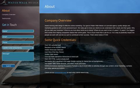 Screenshot of About Page waterwalkmedia.com - About Water Walk Media - Web Design Company in Glenview - captured Oct. 25, 2018