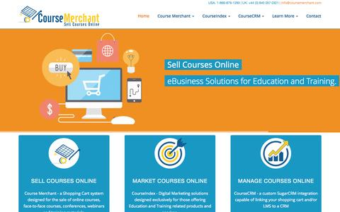 Screenshot of Home Page coursemerchant.com - Course Merchant | E-commerce for Moodle » Sell e-learning courses online! - captured Sept. 23, 2014