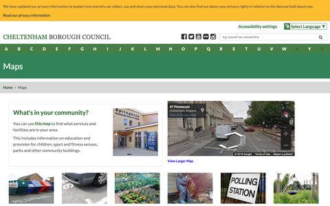 Screenshot of Maps & Directions Page cheltenham.gov.uk - Maps | Cheltenham Borough Council - captured Sept. 27, 2018