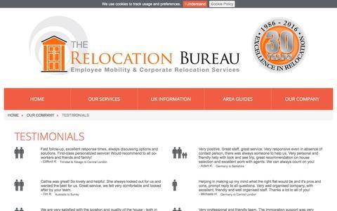 Screenshot of Testimonials Page reloburo.com - Client Testimonials | The Relocation Bureau - captured Oct. 23, 2017