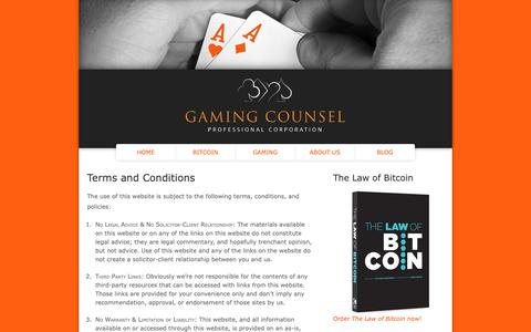 Screenshot of Terms Page gamingcounsel.co - Terms and Conditions | Gaming Counsel Professional Corporation - captured Sept. 27, 2018