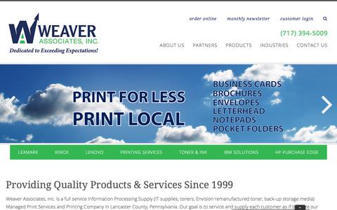 Screenshot of Home Page weaverassociatesinc.com - Buy Printers | Get Prints | Lancaster PA | Weaver Associates - captured Sept. 21, 2018