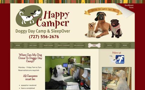 Screenshot of FAQ Page doggydaycamp.com - FAQ :: Clearwater Doggy Day Camp   Clearwater Dog Day Care, Dog Boarding, Dog Sitting, Kennels - captured March 8, 2016