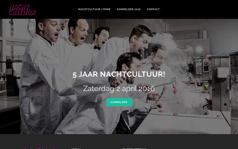 Screenshot of Home Page nachtcultuur.com - NACHTCULTUUR | Zaterdag 2 april 2016 - captured Jan. 10, 2016