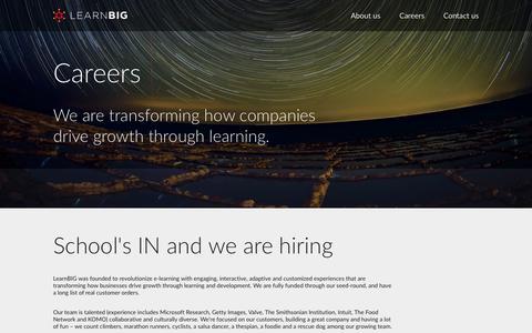 Screenshot of Jobs Page learnbig.com - Careers   LearnBIG - captured Oct. 28, 2014