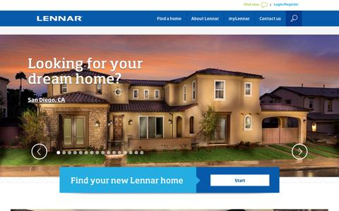 Screenshot of Home Page lennar.com - Lennar New Homes For Sale - Building Houses and Communities - captured Jan. 14, 2015