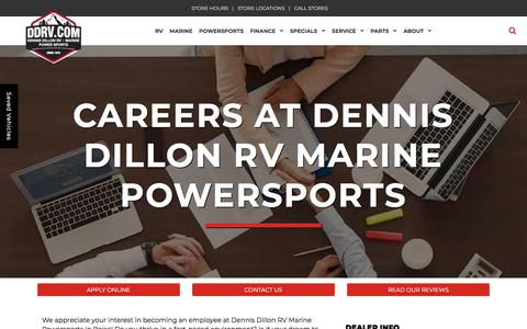 Screenshot of Jobs Page ddrv.com - Car Dealership Career Opportunities | Dennis Dillon RV Marine Powersports - captured July 9, 2018