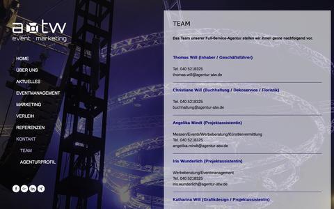 Screenshot of Team Page agentur-atw.info - Team - eventagentur hamburg-norderstedt - atw - captured May 7, 2018