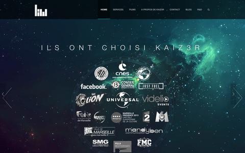 Screenshot of Home Page kaiz3r.net - KAIZ3R. Réalisateur | Etalonneur | Videographiste - Montpellier        KAIZ3R - captured Jan. 9, 2016