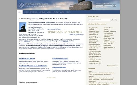 Screenshot of Home Page spiritual-experiences.com - Spiritual Experiences and Spirituality - captured Sept. 19, 2014