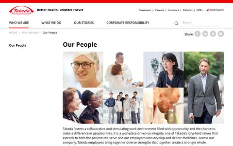 Screenshot of Team Page takeda.com - Our People | Takeda - captured Sept. 22, 2019