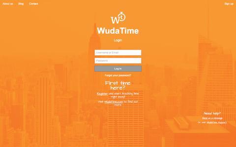 Screenshot of Signup Page Login Page wudatime.com - WudaTime - captured July 16, 2015