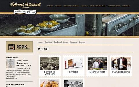 Screenshot of About Page antoines.com - About | Antoine's Restaurant - captured Oct. 8, 2017