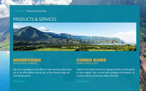 Screenshot of Products Page hawaiiinformation.com - Products & Services | Hawaii's MLS and Real Estate Resource - captured July 22, 2017