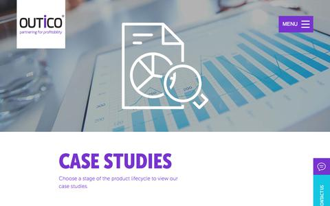 Screenshot of Case Studies Page outico.com - OUTiCO > Outsourcing case studies across the product lifecycle - captured Oct. 22, 2017
