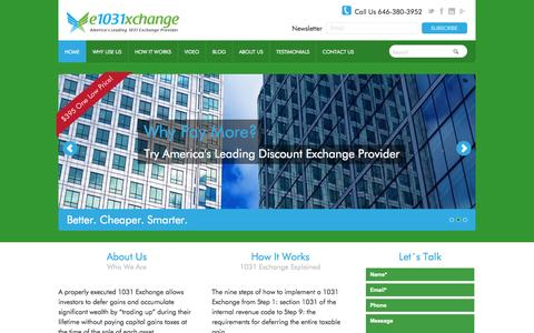 Screenshot of Home Page FAQ Page e1031xchange.com - America's Leading 1031 Exchange Provider | e1031xchange - captured Oct. 3, 2014
