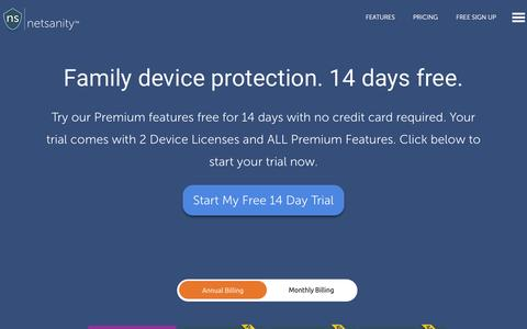 Screenshot of Pricing Page netsanity.net - Get Netsanity: Mobile Parental Controls Pricing As Low as $1/mo or $10/yr - captured Dec. 11, 2016