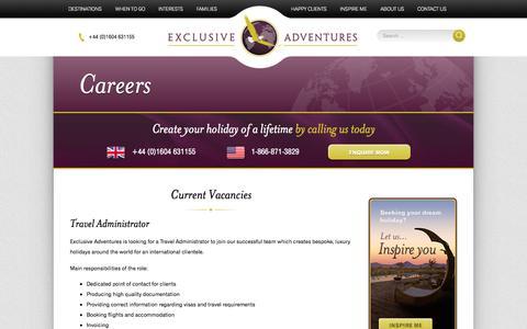 Screenshot of Jobs Page exclusiveadventures.co.uk - Careers - Exclusive Adventures - captured Oct. 28, 2014