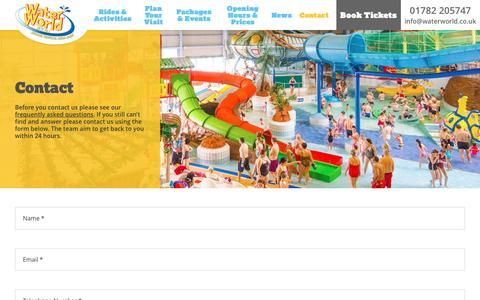 Screenshot of Contact Page waterworld.co.uk - Contact | WaterWorld - captured Dec. 4, 2016