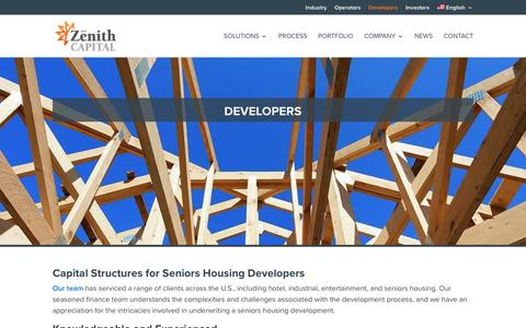 Screenshot of Developers Page zenithcap.net - Financing Senior Housing Developers - captured Nov. 28, 2016