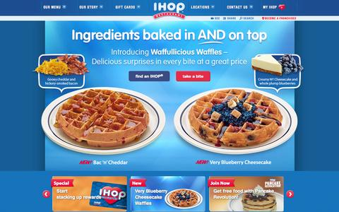 Screenshot of Home Page ihop.com - Welcome to IHOP - captured Sept. 19, 2014