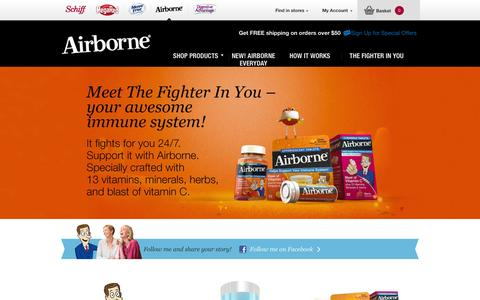Screenshot of Home Page Login Page airbornehealth.com - Airborne® | Supplement for real immune system support! - Airborne Health - captured Sept. 23, 2014