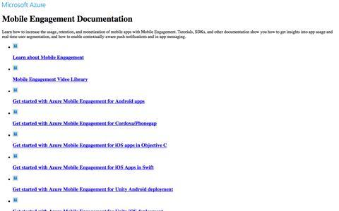 Screenshot of microsoft.com - Azure Mobile Engagement Documentation - Tutorials, API Reference | Microsoft Docs - captured May 28, 2017