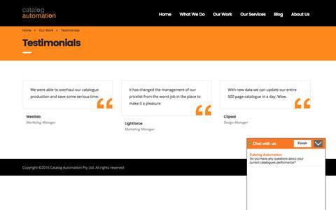 Screenshot of Testimonials Page catalogautomation.com - Testimonials – Catalog Automation Pty Ltd - captured July 18, 2017