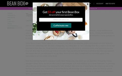Screenshot of Terms Page beanbox.co - Terms and Conditions | Bean Box - captured April 14, 2016