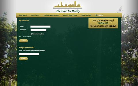 Screenshot of Login Page thecharlesrealty.com - Boston Real Estate   The Charles Realty   Boston Luxury Real Estate - captured Oct. 7, 2014