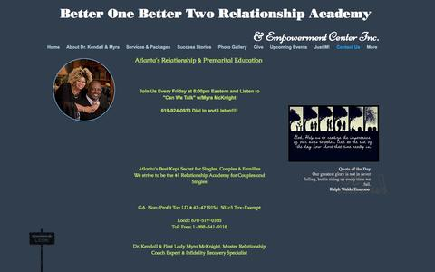 Screenshot of Contact Page premaritalcounselingatlanta.com - Better One Better Two Relationship Academy - captured Oct. 18, 2016