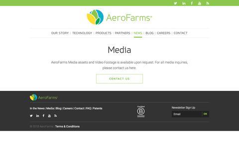 Screenshot of Press Page aerofarms.com - AeroFarms - Media - AeroFarms - captured Jan. 16, 2018