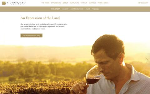 Screenshot of About Page signorelloestate.com - About Signorello Estate | Signorello Estate | Napa Valley Winery on Silverado Trail | Limited Product Wines - captured Oct. 18, 2019