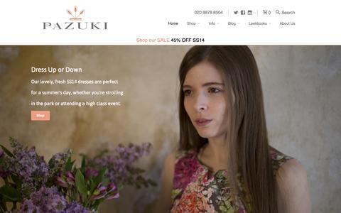 Screenshot of Home Page pazuki.co.uk - Pazuki   Luxury British Designer Printed Clothing - captured Oct. 2, 2014