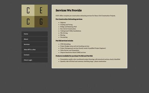 Screenshot of Services Page cecginc.com - Services — Construction Engineering Consulting Group, Inc. - captured Sept. 26, 2014