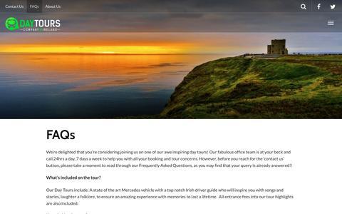 Screenshot of FAQ Page daytourcompany.com - FAQs | DayTourCompany - captured Dec. 30, 2016