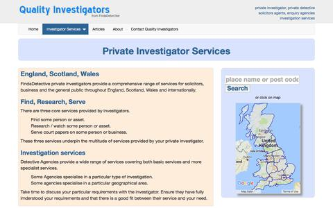 Screenshot of Services Page findadetective.co.uk - Private Investigator services at Findadetective, investigation, tracing, process serve - captured June 6, 2017
