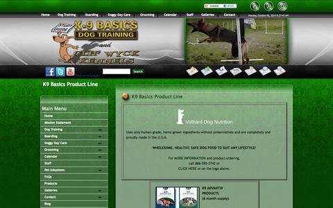 Screenshot of Products Page k9basics.com - Pet Products | K9 Basics - captured Oct. 6, 2014