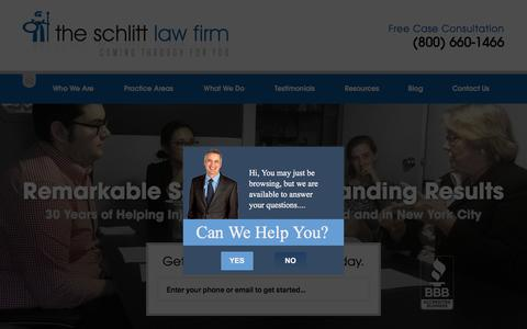 Screenshot of Home Page schlittlaw.com - The Schlitt Law Firm | Long Island personal injury lawyer coming through for you - captured Oct. 15, 2015