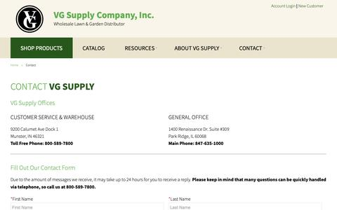 Screenshot of Contact Page vgsupply.com - Contact - VG Supply Company Inc - Wholesale Lawn & Garden Distributor - captured Dec. 20, 2018