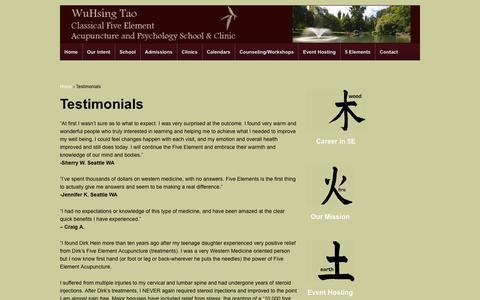 Screenshot of Testimonials Page wuhsing.org - Testimonials - - captured Nov. 4, 2017