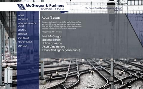 Screenshot of Team Page mcgregorlegal.eu - McGregor & Partners |Our team of lawyers from Romania and Bulgaria - captured Oct. 27, 2014