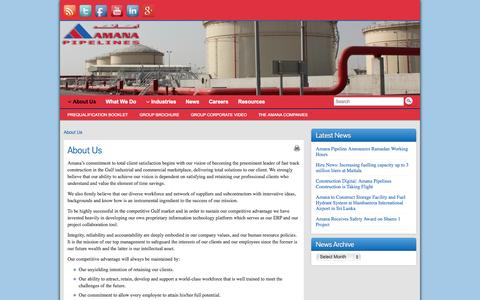 Screenshot of About Page amanapipelines.com - About Us - Amana Pipeline Construction - captured Oct. 4, 2014