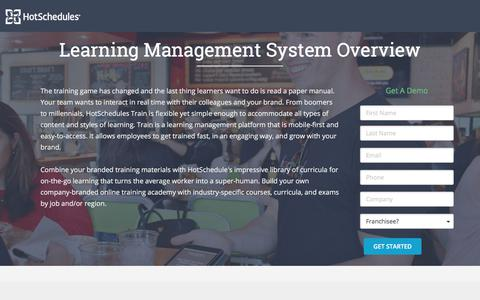Screenshot of Landing Page hotschedules.com - HS Learning Management System Demo - captured March 8, 2018
