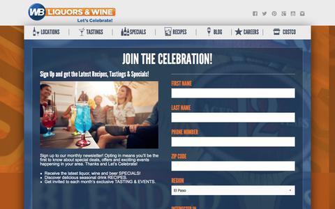 Screenshot of Signup Page wbliquors.com - Newsletter | Liquor Store - WB Liquors - captured Sept. 21, 2018