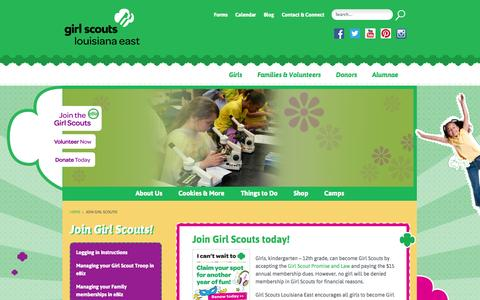 Screenshot of Signup Page gsle.org - Join Girl Scouts! - Girl Scouts Louisiana EastGirl Scouts Louisiana East - captured Oct. 2, 2014