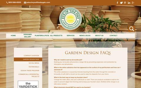 Screenshot of FAQ Page eyeofthedaygdc.com - Garden Design FAQ - captured Feb. 2, 2016
