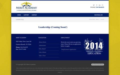 Screenshot of Team Page meritacademytx.org - Leadership | Merit Academy - Carrollton, TX - captured Oct. 27, 2014